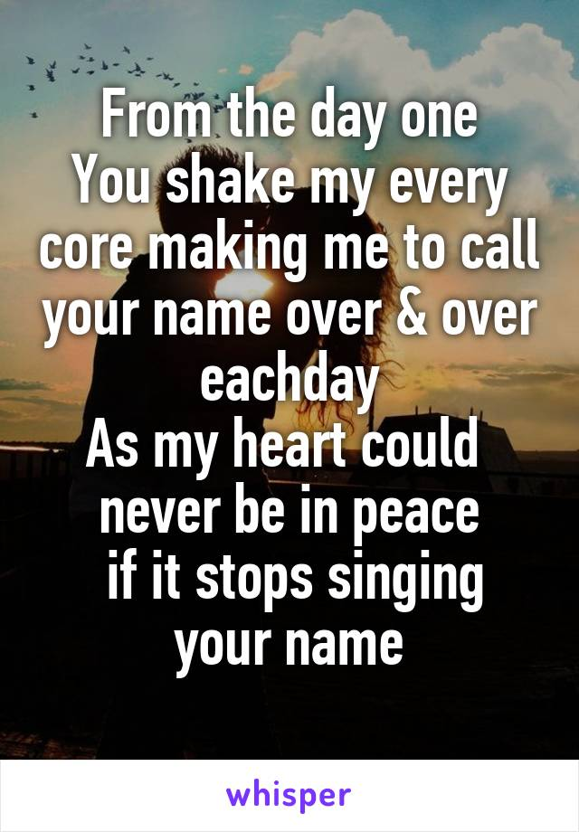 From the day one You shake my every core making me to call your name over & over eachday As my heart could  never be in peace  if it stops singing your name