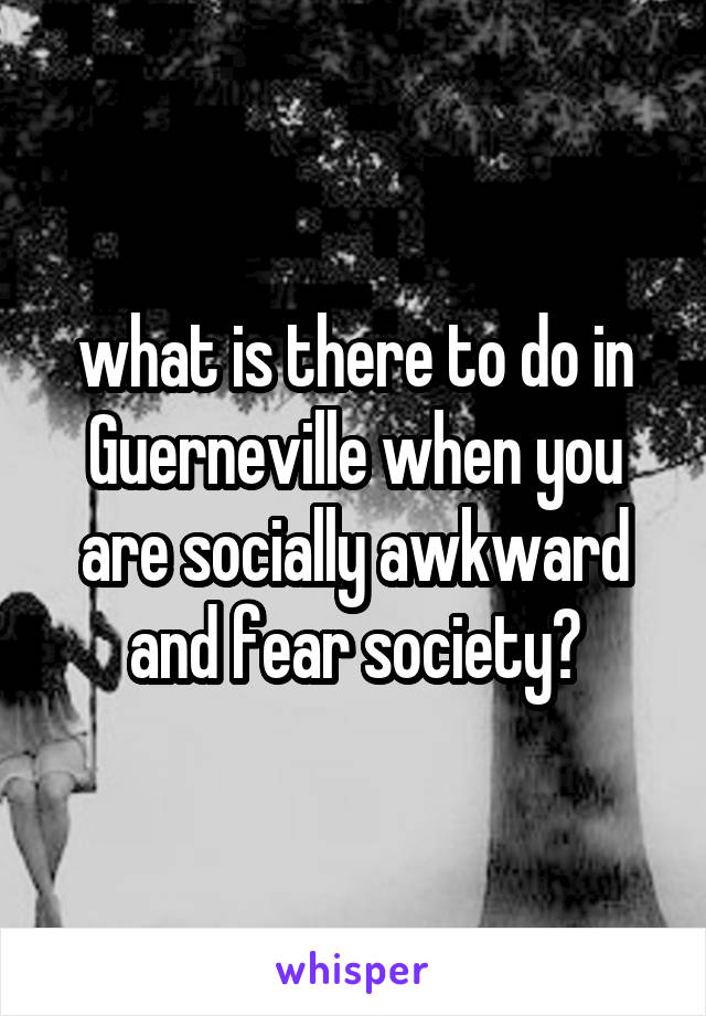 what is there to do in Guerneville when you are socially awkward and fear society?