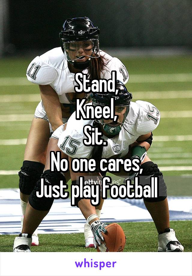Stand, Kneel, Sit.  No one cares, Just play football