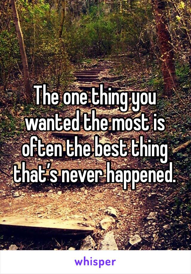 The one thing you wanted the most is often the best thing that's never happened.