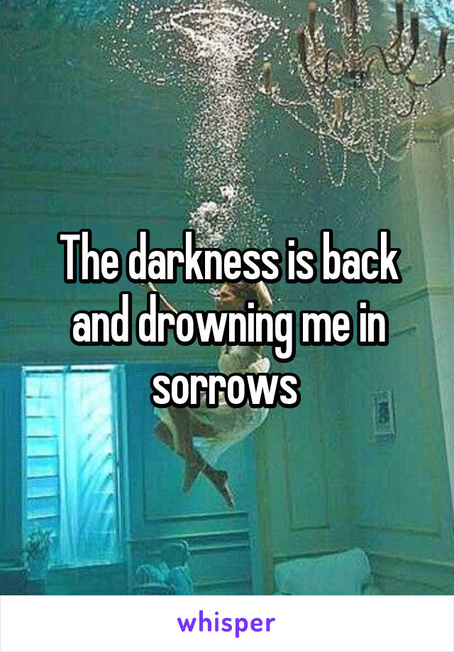 The darkness is back and drowning me in sorrows