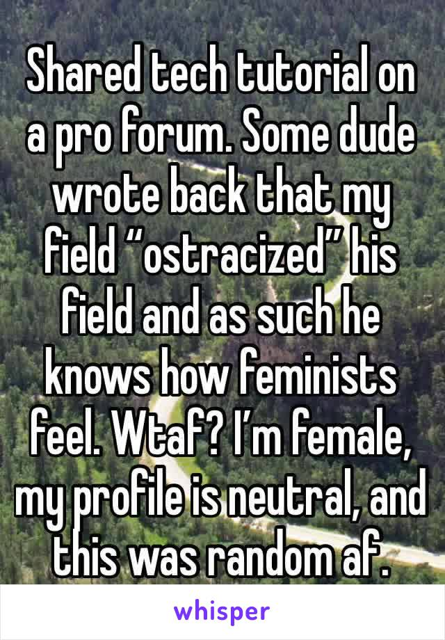 "Shared tech tutorial on a pro forum. Some dude wrote back that my field ""ostracized"" his field and as such he knows how feminists feel. Wtaf? I'm female, my profile is neutral, and this was random af."