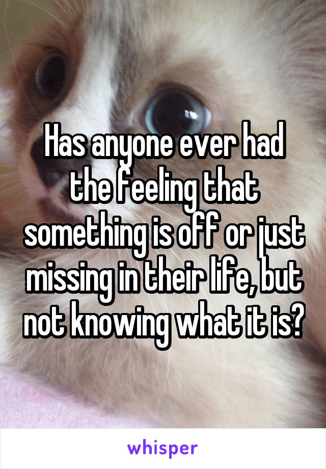 Has anyone ever had the feeling that something is off or just missing in their life, but not knowing what it is?