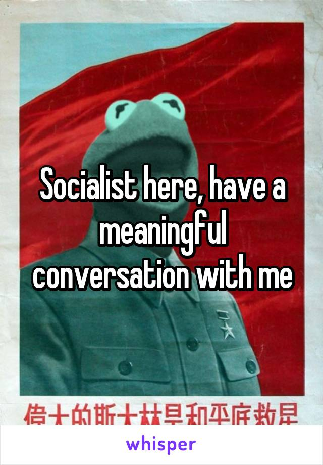 Socialist here, have a meaningful conversation with me