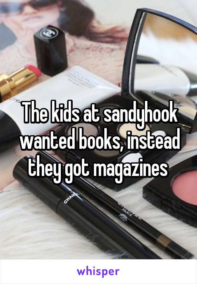 The kids at sandyhook wanted books, instead they got magazines