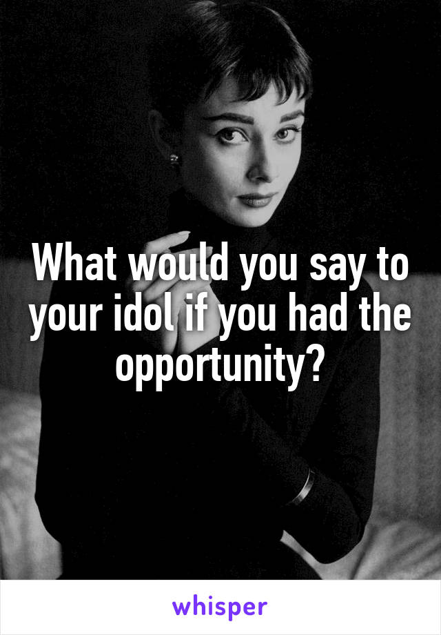 What would you say to your idol if you had the opportunity?