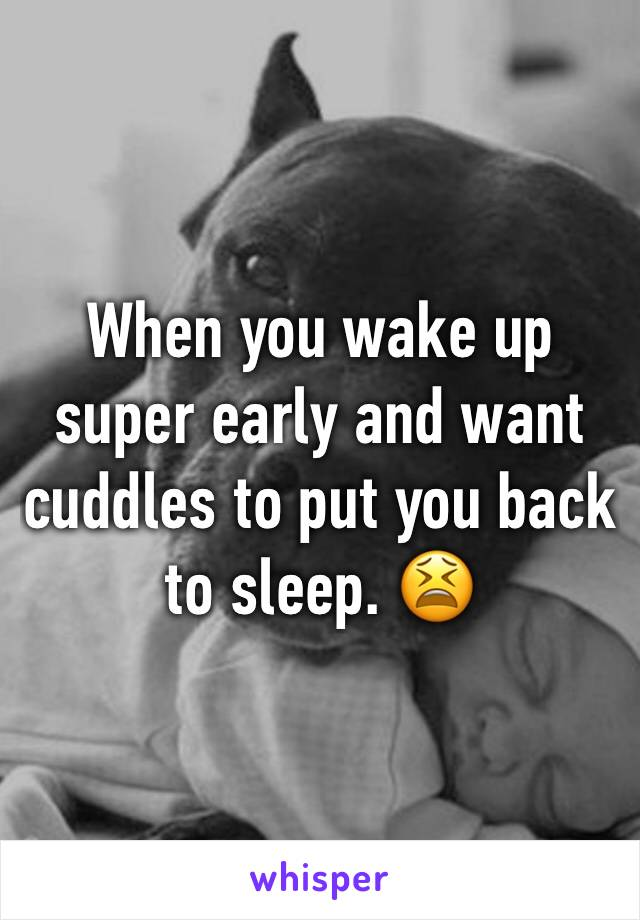 When you wake up super early and want cuddles to put you back to sleep. 😫