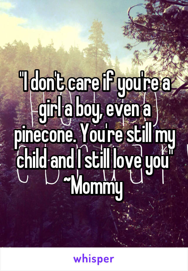 """""""I don't care if you're a girl a boy, even a pinecone. You're still my child and I still love you"""" ~Mommy"""