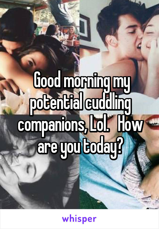 Good morning my potential cuddling companions, Lol.   How are you today?