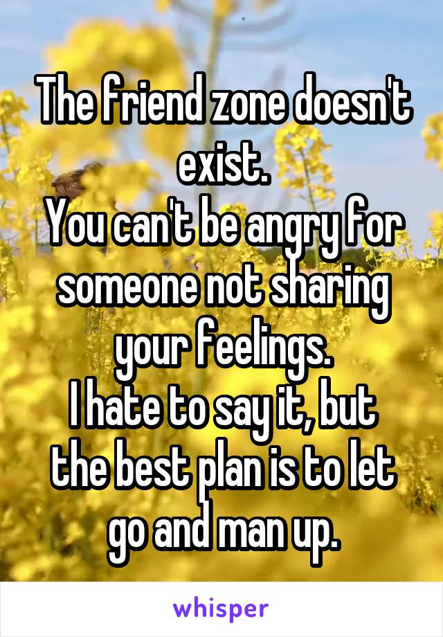 The friend zone doesn't exist. You can't be angry for someone not sharing your feelings. I hate to say it, but the best plan is to let go and man up.