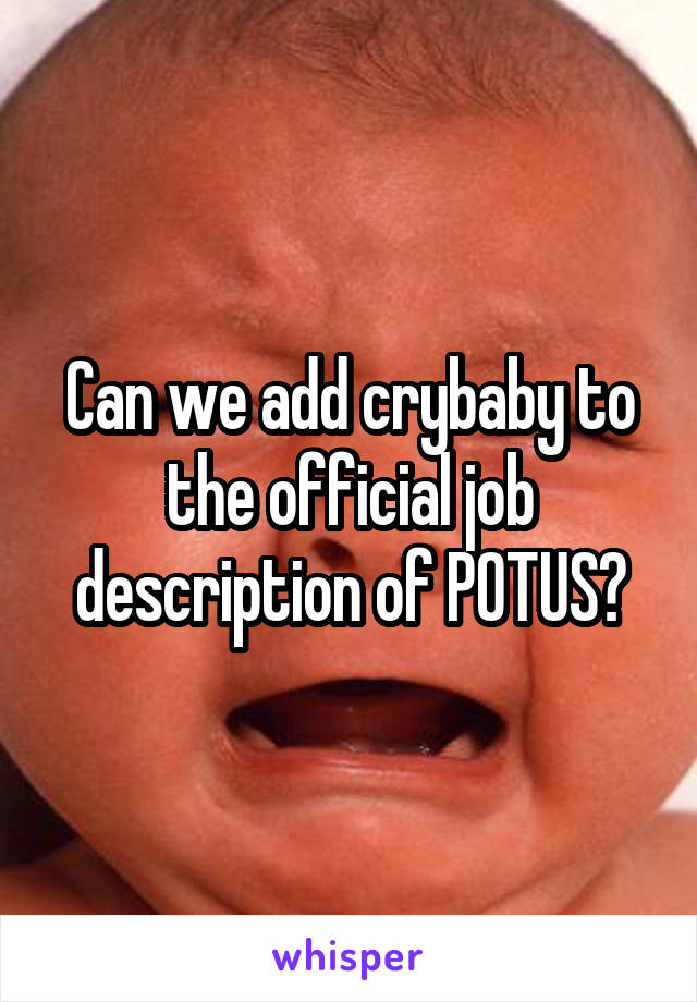 Can we add crybaby to the official job description of POTUS?