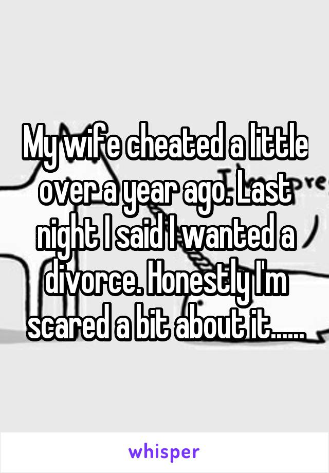 My wife cheated a little over a year ago. Last night I said I wanted a divorce. Honestly I'm scared a bit about it......