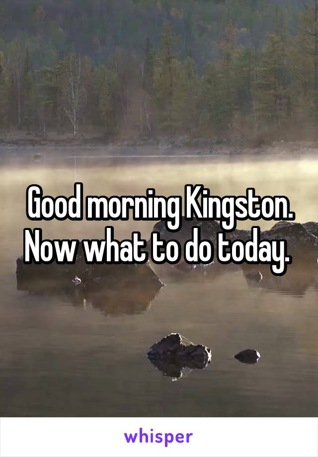Good morning Kingston. Now what to do today.