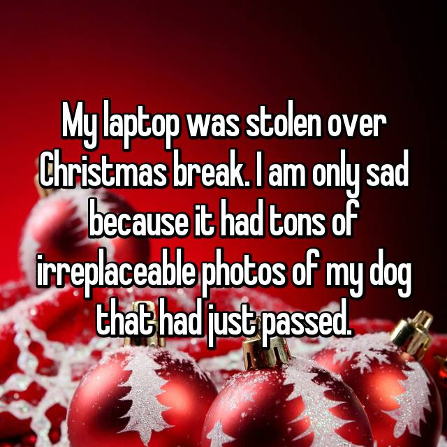 My laptop was stolen over Christmas break. I am only sad because it had tons of irreplaceable photos of my dog that had just passed.