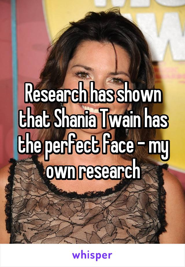 Research has shown that Shania Twain has the perfect face - my own research