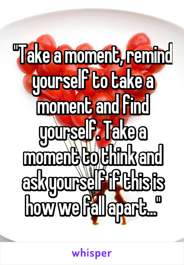 """""""Take a moment, remind yourself to take a moment and find yourself. Take a moment to think and ask yourself if this is how we fall apart..."""""""