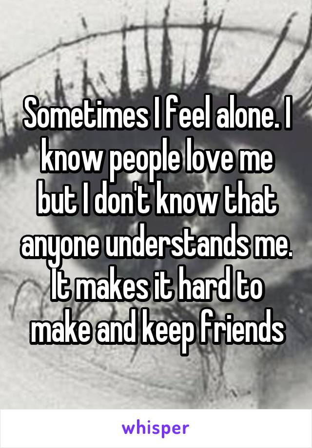 Sometimes I feel alone. I know people love me but I don't know that anyone understands me. It makes it hard to make and keep friends