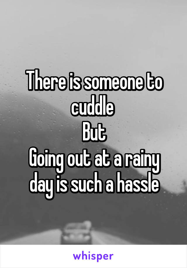 There is someone to cuddle  But Going out at a rainy day is such a hassle