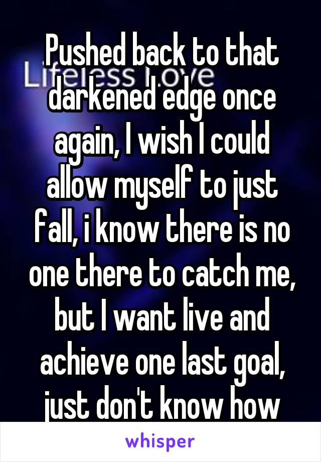 Pushed back to that darkened edge once again, I wish I could allow myself to just fall, i know there is no one there to catch me, but I want live and achieve one last goal, just don't know how