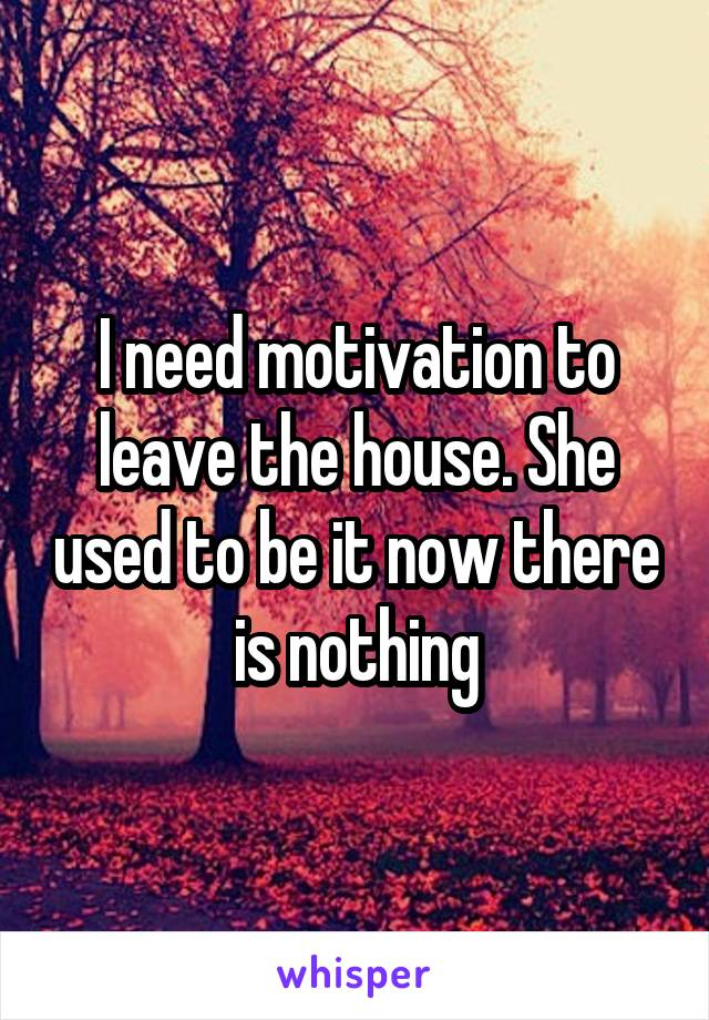 I need motivation to leave the house. She used to be it now there is nothing