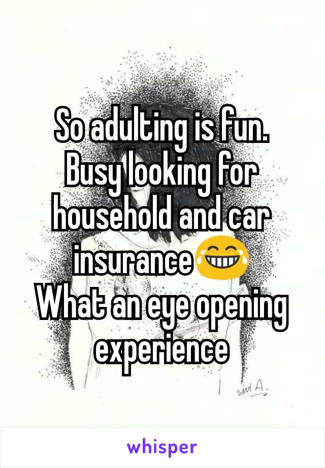 So adulting is fun. Busy looking for household and car insurance😂 What an eye opening experience