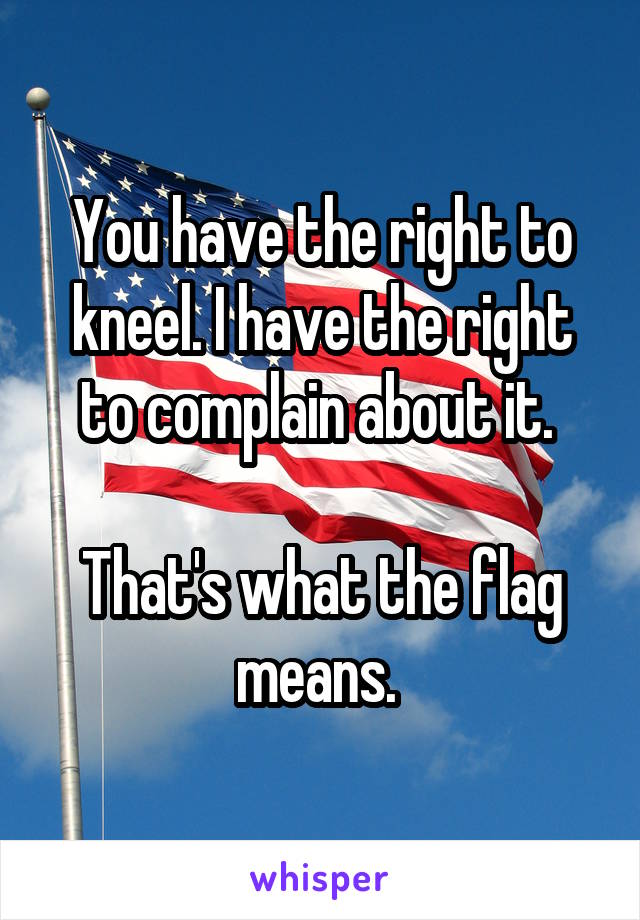 You have the right to kneel. I have the right to complain about it.   That's what the flag means.