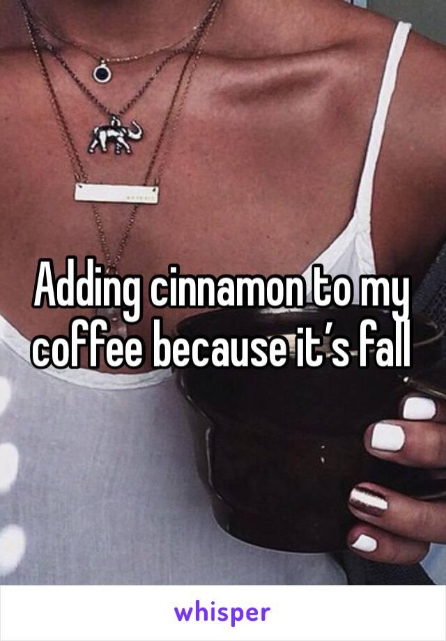 Adding cinnamon to my coffee because it's fall