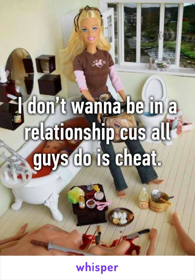 I don't wanna be in a relationship cus all guys do is cheat.