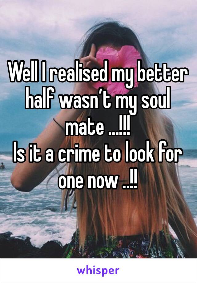 Well I realised my better half wasn't my soul mate ...!!! Is it a crime to look for one now ..!!