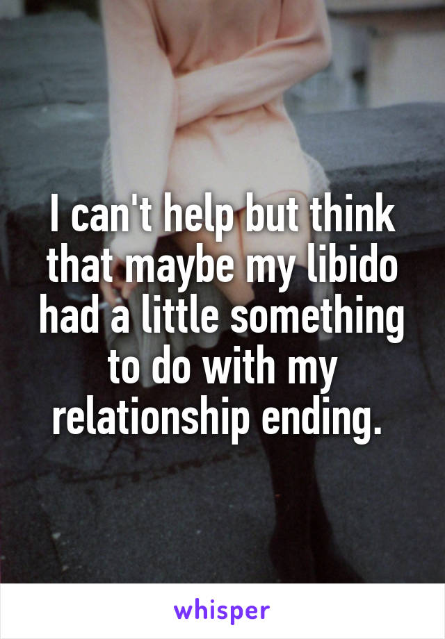 I can't help but think that maybe my libido had a little something to do with my relationship ending.