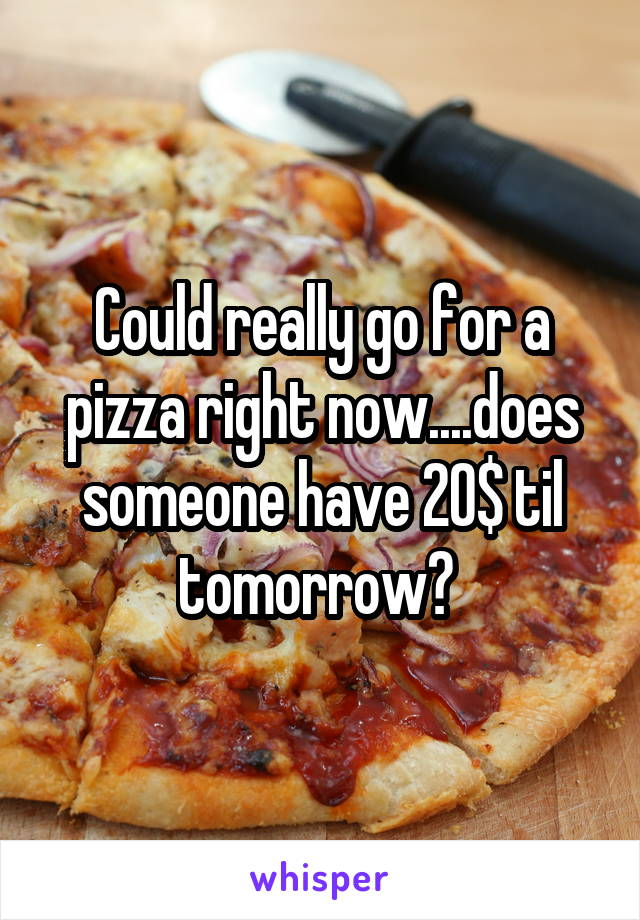 Could really go for a pizza right now....does someone have 20$ til tomorrow?