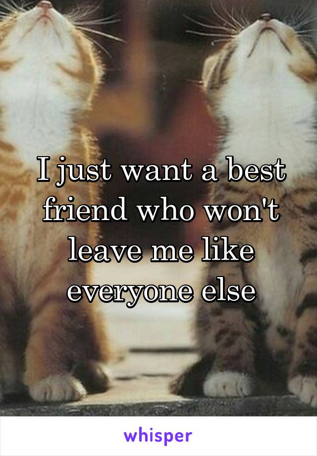 I just want a best friend who won't leave me like everyone else