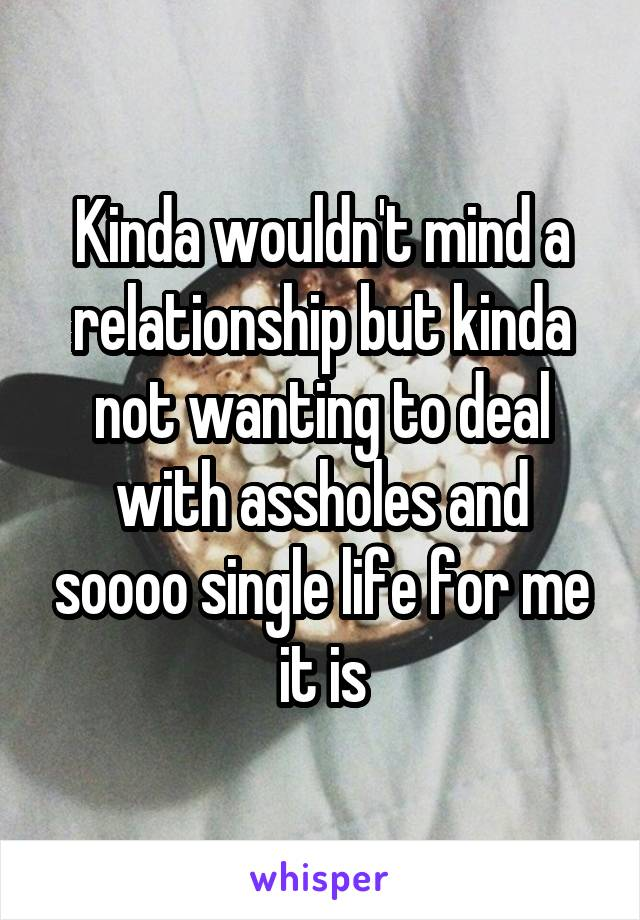 Kinda wouldn't mind a relationship but kinda not wanting to deal with assholes and soooo single life for me it is