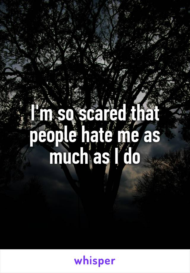 I'm so scared that people hate me as much as I do