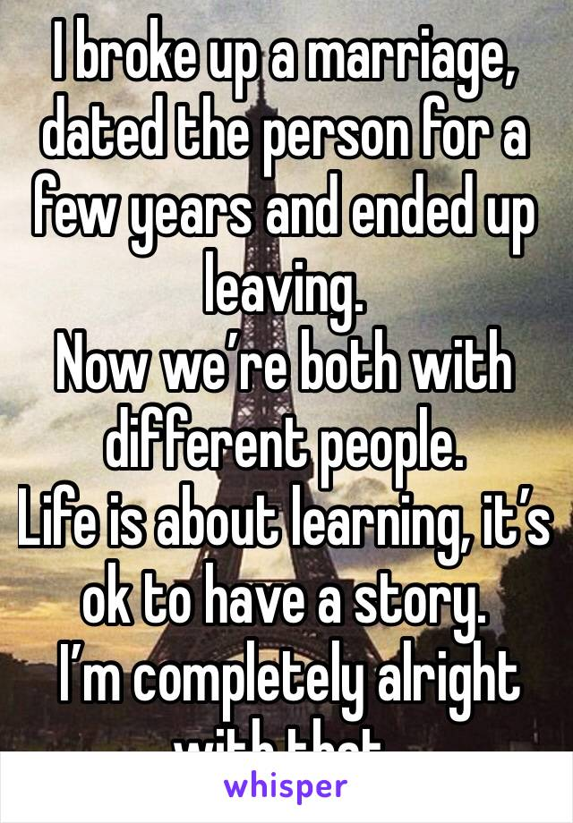 I broke up a marriage, dated the person for a few years and ended up leaving. Now we're both with different people. Life is about learning, it's ok to have a story.  I'm completely alright with that.