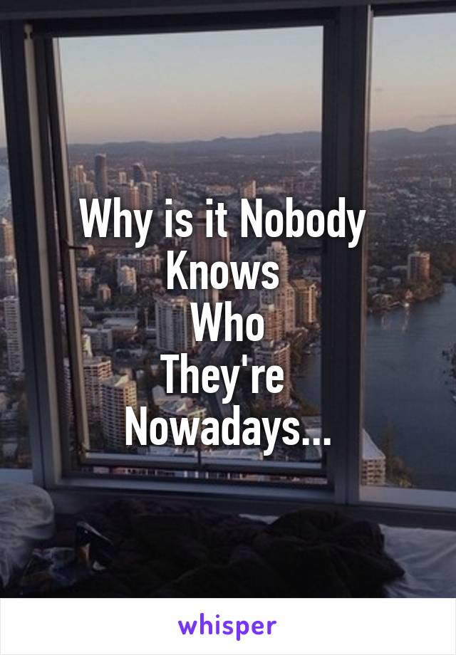 Why is it Nobody  Knows  Who They're  Nowadays...