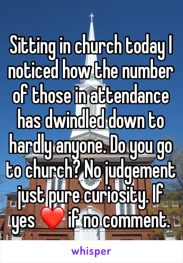 Sitting in church today I noticed how the number of those in attendance has dwindled down to hardly anyone. Do you go to church? No judgement just pure curiosity. If yes ❤️ if no comment.