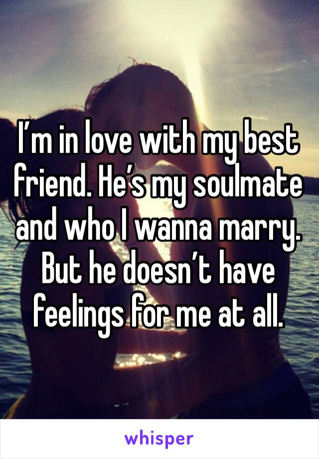 I'm in love with my best friend. He's my soulmate and who I wanna marry. But he doesn't have feelings for me at all.