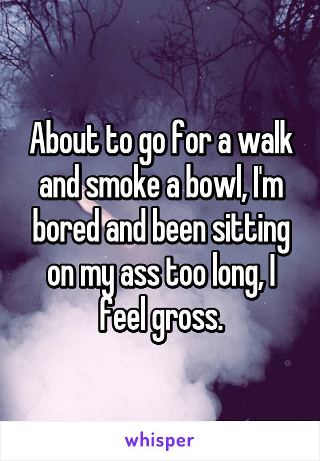 About to go for a walk and smoke a bowl, I'm bored and been sitting on my ass too long, I feel gross.