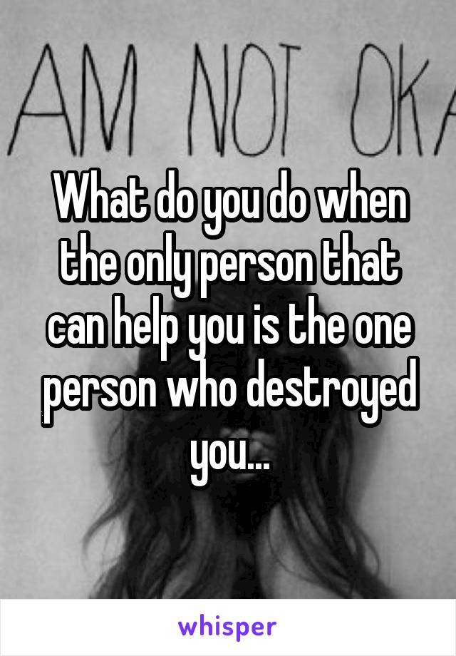 What do you do when the only person that can help you is the one person who destroyed you...