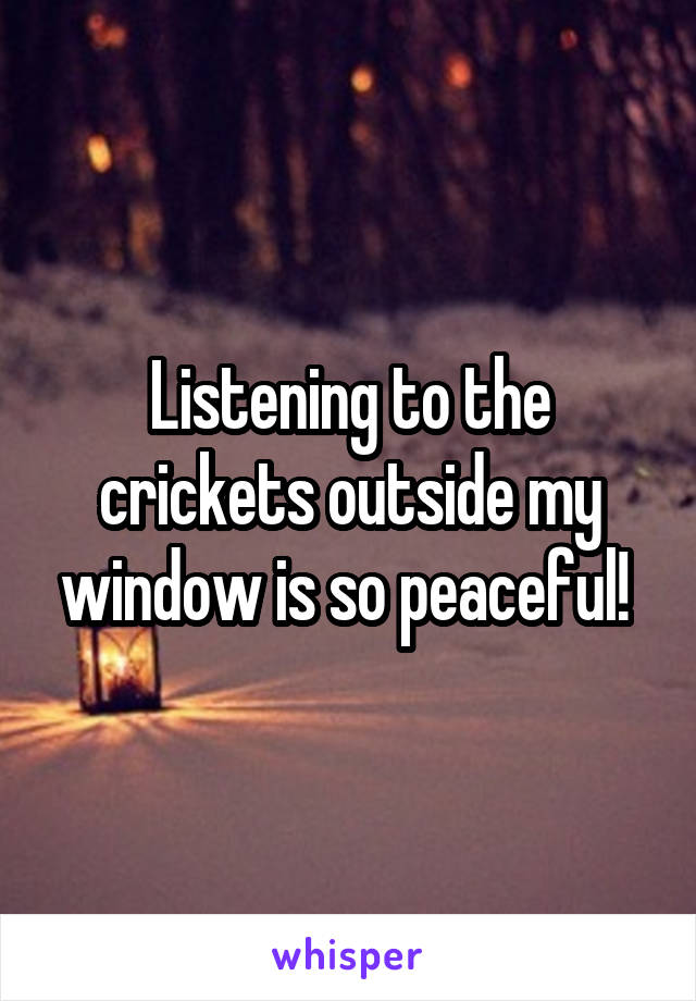 Listening to the crickets outside my window is so peaceful!
