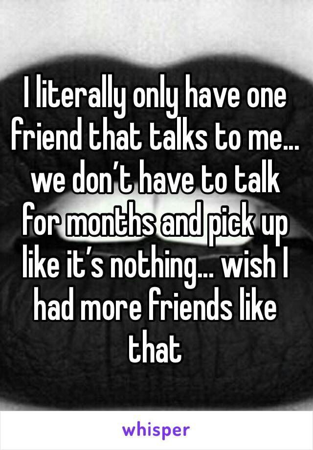 I literally only have one friend that talks to me... we don't have to talk for months and pick up like it's nothing... wish I had more friends like that