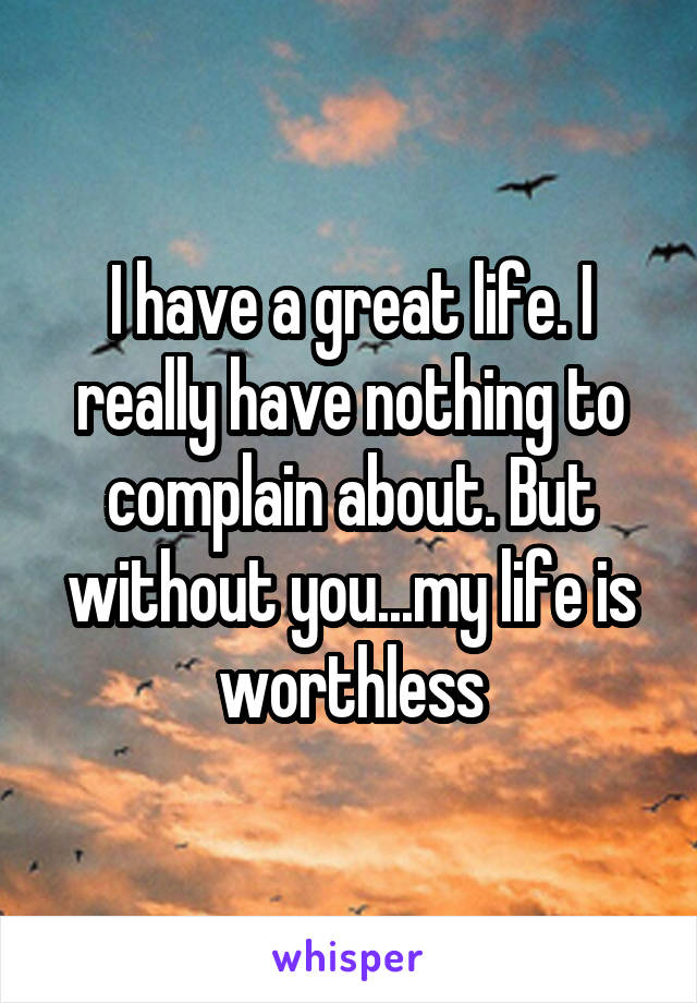 I have a great life. I really have nothing to complain about. But without you...my life is worthless