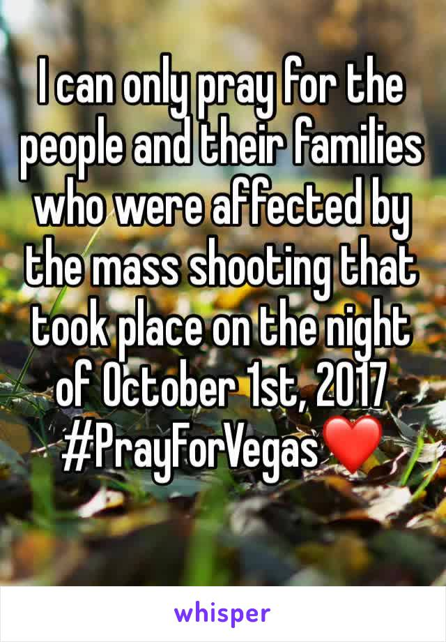 I can only pray for the people and their families who were affected by the mass shooting that took place on the night of October 1st, 2017 #PrayForVegas❤️