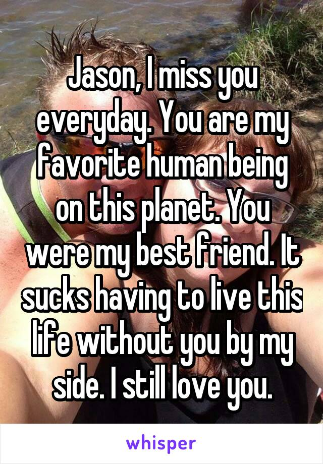 Jason, I miss you everyday. You are my favorite human being on this planet. You were my best friend. It sucks having to live this life without you by my side. I still love you.