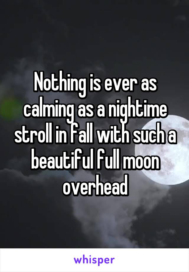 Nothing is ever as calming as a nightime stroll in fall with such a beautiful full moon overhead
