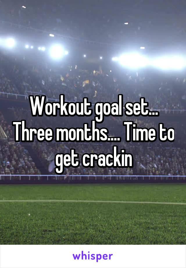 Workout goal set... Three months.... Time to get crackin