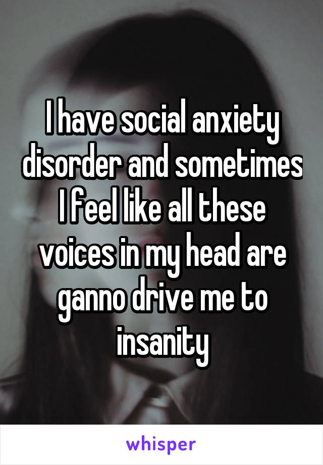 I have social anxiety disorder and sometimes I feel like all these voices in my head are ganno drive me to insanity