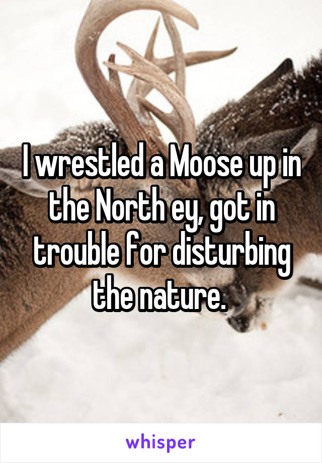 I wrestled a Moose up in the North ey, got in trouble for disturbing the nature.