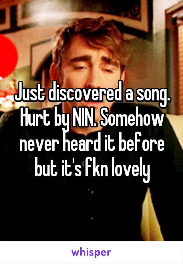 Just discovered a song. Hurt by NIN. Somehow never heard it before but it's fkn lovely